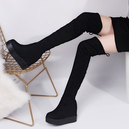 Discount thigh high lace up platform boots - M Thigh High Boots Platform Winter Boots Women Over the Knee Suede Long High Heels Fur Plush Wedge Shoes Woman