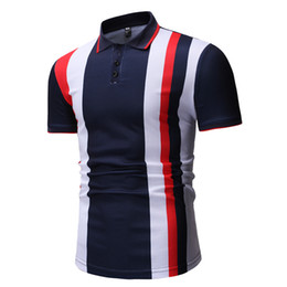 Polo Blue Navy NZ - Men Navy Blue Striped Polo Shirt Plus Size S-2xl Fashion Slim Fit Casual Polo Shirt Men 2019 Summer Short Sleeve Mens Polo