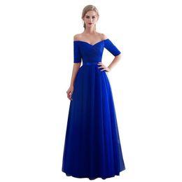 f8bdef22243a9 Royal Blue Evening Dresses 2019 Long Boat Neck Prom Gown Cheap Half Sleeve  Vestido Da Festa Fashionable Formal Party Dress Y19042701