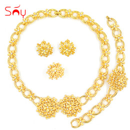 $enCountryForm.capitalKeyWord NZ - bridal sets Sunny Romantic Cubic Zirconia Round Flower Bridal Jewelry Set Wedding For Women Necklace Earrings Ring Bracelet