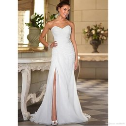 $enCountryForm.capitalKeyWord NZ - Sleeveless Off The Shoulder Chiffon Lace Up Sweetheart Bridal Gowns Wedding Dresses Pregnant Women Plus Size Professional custom