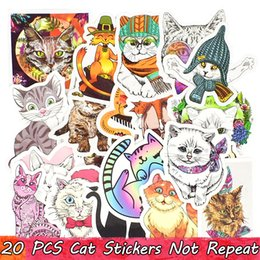 laptop toilet NZ - 20 PCS Cat Stickers Graffiti Animal Decals Toy for Kids Laptop Skateboard Bike Car Luggage Guitar Mug Gifts for All People Home Decor