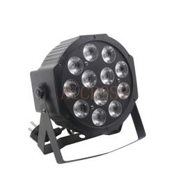 Flat Lamps UK - 12x12W led Par lights 12pcs 12w led lamp beads RGBW 4in1 flat par led dmx512 disco lights professional stage dj equipment