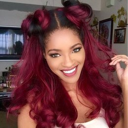 lace front silk top ombre 2019 - Silk top 100% Human Hair Full Lace Burgundy Wig Ombre Color 1B 99J Two Tone Body Wave Front Lace Wigs Dark Root cheap la