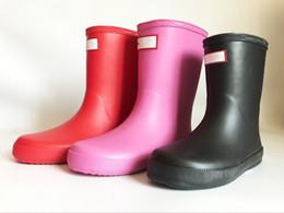 Kids Shoe Rain Boot Australia - Kids H Letter Print Rainboots Candy Color Mid Calf Rain Boots Waterproof Rubber Water Shoes Boys Girls Rainshoes A41306