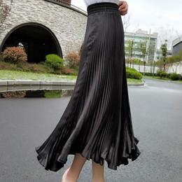 3b9b941b40 SheBlingBling Summer Elegant Satin Pleated Skirts Girls Elastic High Waist  Skinny Large Swing Glitter Metallic Women Long Skirt