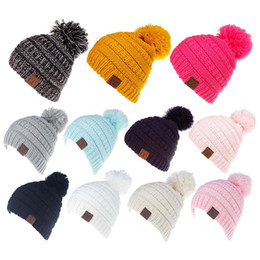 Kids boys girls Beanie Caps Solid Color Children Knitting Crochet Pompom Hat Fashion Winter Warm Cap Accessories 11 colors C937 from teemo lol cosplay manufacturers