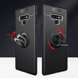 simple cell phones NZ - Simple Magnetic Car Mount Finger Ring Holder Crashproof Back Cover TPU Cell Phone Case Protective Covers For Samsung S8 S9 S10 Plus Note 8 9