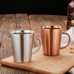 Silver Cup Mug Australia - 15pcs Double Layer 304 Stainless Steel Rose Gold Silver Mugs Anti-hot Travel Outdoor Coffee Tea Water Cup