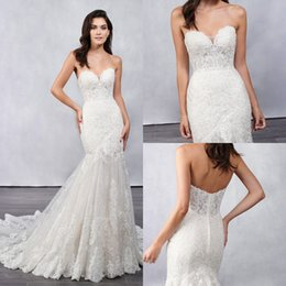Zuhair Murad Mermaid Wedding Dresses NZ - 2019 Zuhair Murad Mermaid Wedding Dresses Sweetheart Lace Backless Sleeveless Sweep Train Bridal Gowns Plus Size Vestido De Novia