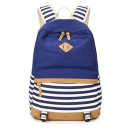 $enCountryForm.capitalKeyWord UK - Canvas Striped Casual Rucksack School Lightweight Backpack for Teenager Girls Student Bookbag