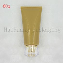 empty lotion squeeze tubes Australia - 30pcs 60g Empty Gold Soft Refillable Plastic Lotion Tubes Squeeze Cosmetic Packaging, Facial cream Screw cover hose