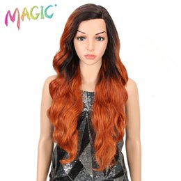 loose body synthetic wigs 2019 - MAGIC Synthetic Hair Wigs Women Long 26 Inch Loose Wavy Lace Front Synthetic Wig For Black Women 3Color Party Wig Free S