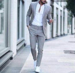 Male Fashion Suits Australia - XLY 2019 Casual Grey Men Suits Fashion Street Smart Business Male Blazer Summer Beach Wedding Suits For Men Prom Party Best Man Suit 2PCS
