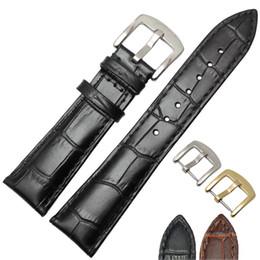 21mm Strap Australia - Genuine Leather Watchband Men Black Brown 19mm 20mm 21mm 22mm Soft Strap Watch Accessories and Steel Metal Needle Buckle
