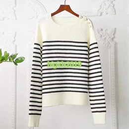 sweatshirt buttons neck NZ - high end women girls knit sweater striped buttons sweatshirts crew neck long sleeves blouse shirt casual paris fashion design pullover tops