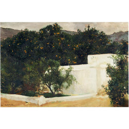 orange abstract canvas art NZ - Beautiful oil painting Landscapes by Joaquin Sorolla y Bastida Orange trees on the road to Seville art on canvas Hand painted