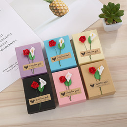 Roses calla lily online shopping - 6 Colors cm Calla Lily Rose Paper Jewelry Bag Gift Box for Christmas Jewelry Case Storage Container Xmas Party Decorations