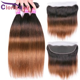Discount ombre hair frontal Straight Human Hair Bundles With Lace Frontal 1B 4 30 Malaysian Virgin Brown Blonde Ombre Weaves Closure Colored 3 Bundl