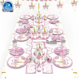 6pcs Set Pink Party Decoration Kit Unicorn Plates Cups Napkins Table Cover Headband Baby Shower Birthday Decors Kids Girl Supplies