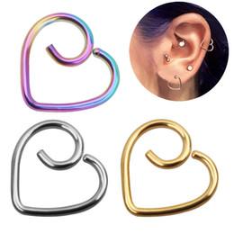 Indian Nose Piercing Australia - Women stainless steel Heart Shape Screw Stud Earrings Piercing Jewelry Tragus Earrings Cartilage Helix Ear Bone Nail Nose Stud