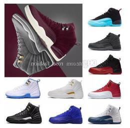 $enCountryForm.capitalKeyWord NZ - 12 Bordeaux Dark Grey Wool Basketball Shoes 12 Wings 12s The Master Sports Sneakers Xii Ovo Colorway:black metallic Gold-white Men Athletics