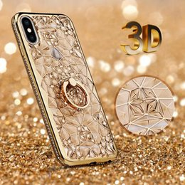 3d iphone case gold online shopping - For iPhone XS MAX Xr X Plus D Plating Glitter Flowers Case Soft TPU Diamond Ring Holder Cover Crystal Phone Shell