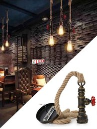 Water Pipe Art Australia - Vintage Retro iron E27 hemp rope decor lights creative water pipe pendant lamp Lighting