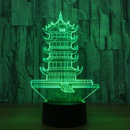 Discount toys change shape - Led 7 Colors Changing Leifeng Pagoda Shape 3D Night Light Towe Lamp Bedroom Bedside Decor Luminaria Sleep Table Lamp Toy