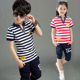 3ca1d428b Kids Sets Boys Summer New Children Short Sleeved T Shirt +pant Two Sets of  Children's Sport Suit 5-14 Ages Clothing 10 12