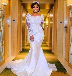 $enCountryForm.capitalKeyWord Australia - 2019 Nigerian Mermaid Wedding Dresses Beaded Lace Appliqued Long Sleeves African Black Girl Bridal Gowns Plus Size Wedding Gown