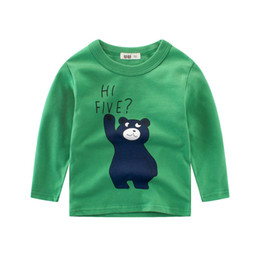 Children White Tees Australia - Brand New Boys T-shirts 100% Cotton Children Long Sleeve Tops Kids Bear Print Spring Autumn Top Tees 2-10T Children's Clothing