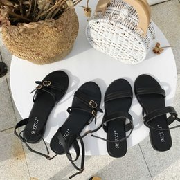 $enCountryForm.capitalKeyWord Australia - Gorgeous2019 Black Joker Colour System One Buckle Bring Concise Toe Summer In Rome Flat Bottom Sandals