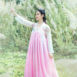 Discount chinese qing - Female Chinese Hanfu New Elegant Fairy Costume Tang Suit Female Tang Dynasty Royal Princess Costume Ancient Qing Dress D