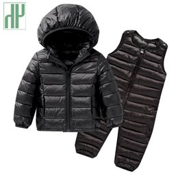 toddler boy 4t Australia - Kids winter clothes Sets Down Jacket 2 pcs Hooded Coat+overalls Baby Boys Girls Warm Parkas Children Outerwear toddler outfits T191007