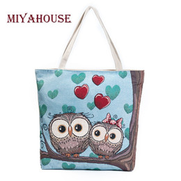 Owl Ladies Handbag Australia - Miyahouse Cartoon Owl Printed Shoulder Bag Women Large Capacity Female Shopping Bag Canvas Handbag Summer Beach Bag Ladies