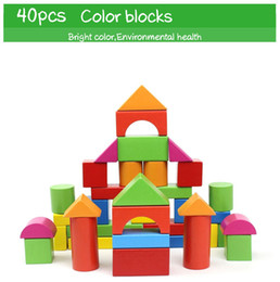 toy large Canada - 40pcs Wooden Grain Bricks Wholesale Children Intelligence Puzzle Baby Assembling Large Wooden Educational Basic Stacking Toys