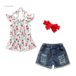 China girl sets 3 pieces suits Girl summer cherry halter top +shorts + Hair accessories sets kids clothing sets suppliers