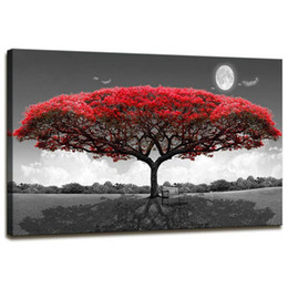 single round NZ - 5D diy full square round drill Single Red Tree Forest Landscape Diamond Painting Cross Stitch mosaic kit living room art YG1824
