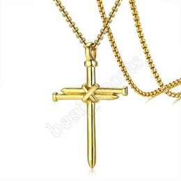 Wholesale Baseball Cross Pendant Necklace Gold Silver Color Stainless Steel Baseball Cross Pendant Necklace For Women Men Hiphop Necklace ZZA677