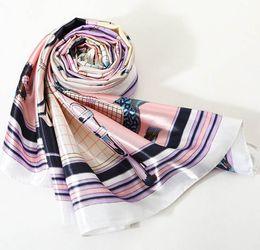 94b203357 Fashion Design Scarves 90cm Ladies Imitation Silk Scarf Bandana Women  Printed Hijab Scarf Leopard Chain Pattern Large Square Scarves Wrap