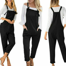 women linen overall 2019 - Women Fashion Casual Solid Pocket Cotton Linen Loose Wide Leg Jumpsuit Overall Long Trousers Pants cheap women linen ove
