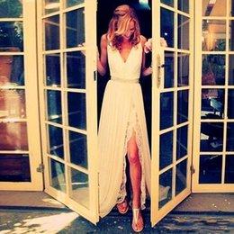 $enCountryForm.capitalKeyWord Australia - 2019 Summer Beach Bohemian A Line Wedding Dresses Backless Floor Length Chiffon Sexy Side Slit Sexy Lace Bridal Gowns
