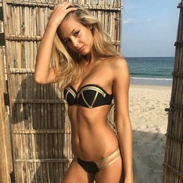 Wholesale black high waisted one piece for sale – plus size sport Bikini Sets Gilded panel High waisted print One piece women Sexy Swimwear solid split hard pack solid yakuda Dropping Accepted