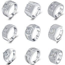 Cluster Rings For Womens Australia - Hot Crystal Diamond Rings Fashions Cubic Zirconia Rings Couples Engagement Ring Bridal Wedding Rings For Womens Party Jewelry Lovers Gifts