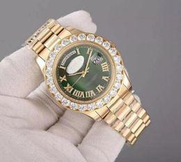 $enCountryForm.capitalKeyWord Australia - Luxury Super President 18K Gold Day Date Men's Watch Big Diamond Prong Set Sapphire original clasp green face fashion Mens Wa