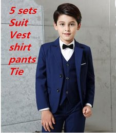 baby blue prom dress kids Canada - 2020 new arrival fashion baby boys kids blazers boy suit for weddings prom formal 5 packs navy blue dress wedding boy suits