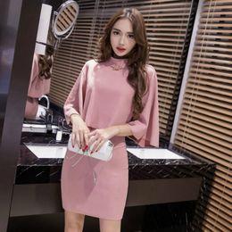 Korean sKirt top online shopping - 2 Piece Set Autumn Women Pink Half Cloak Sleeve Stand Elegant Vintage Top and Knee length Korean Modis Club Skirt Ladies