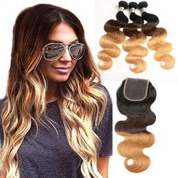 $enCountryForm.capitalKeyWord Australia - Malaysian Human Hair Body Wave 1B 4 27 Ombre Hair 3 Bundles With 4X4 Lace Closure Baby Hair Extensions 1b 4 27 Body Wave 10-28inch