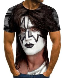wholesale rock band t shirts UK - 2020 3D new cool men and women kiss rock band design print 3D hip hop summer T-shirt Unisex T-Shirt Top